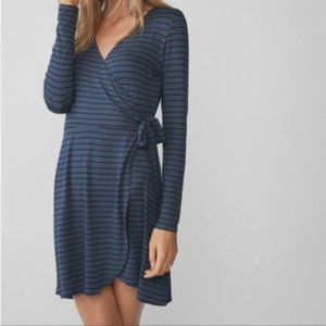 EXPRESS L/S Blue & Black Striped Faux Wrap Dress L